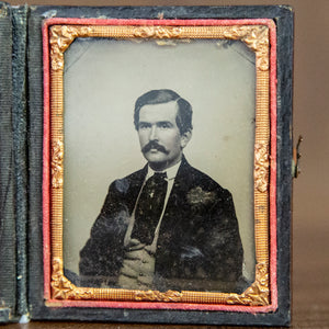 Antique Framed Ambrotype of Mustached Man