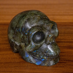Large Hand Carved Labradorite Skull