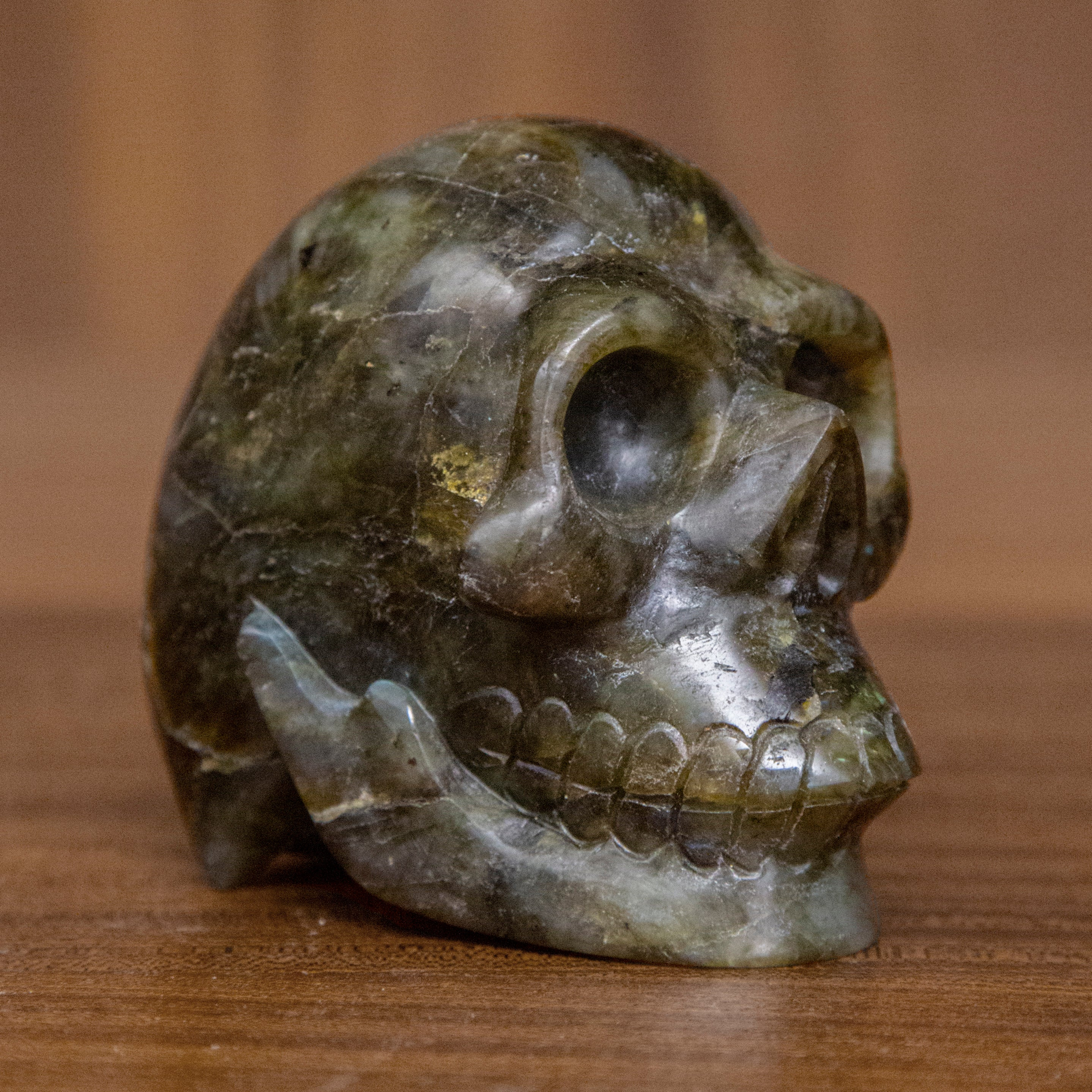 Medium Hand Carved Labradorite Skull