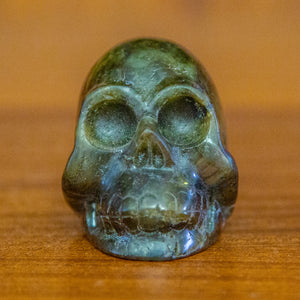 Small Hand Carved Labradorite Skull