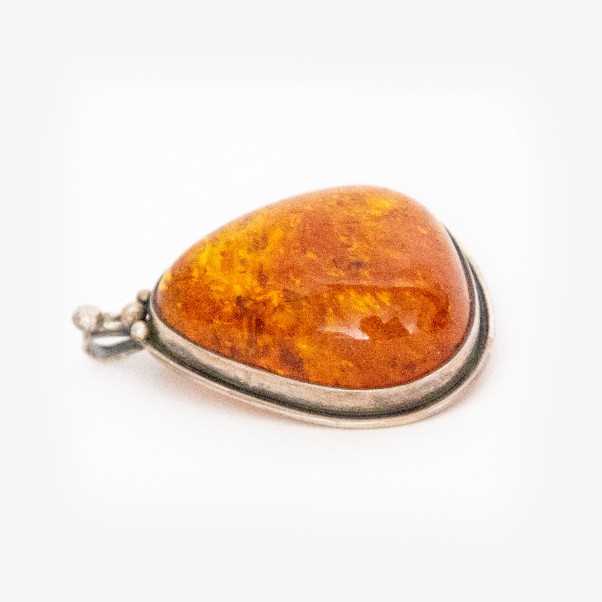 Large Sterling Silver Baltic Amber Pendant Brooch