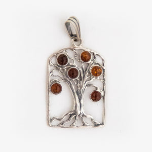 Sterling Silver Baltic Amber Tree of Life Pendant