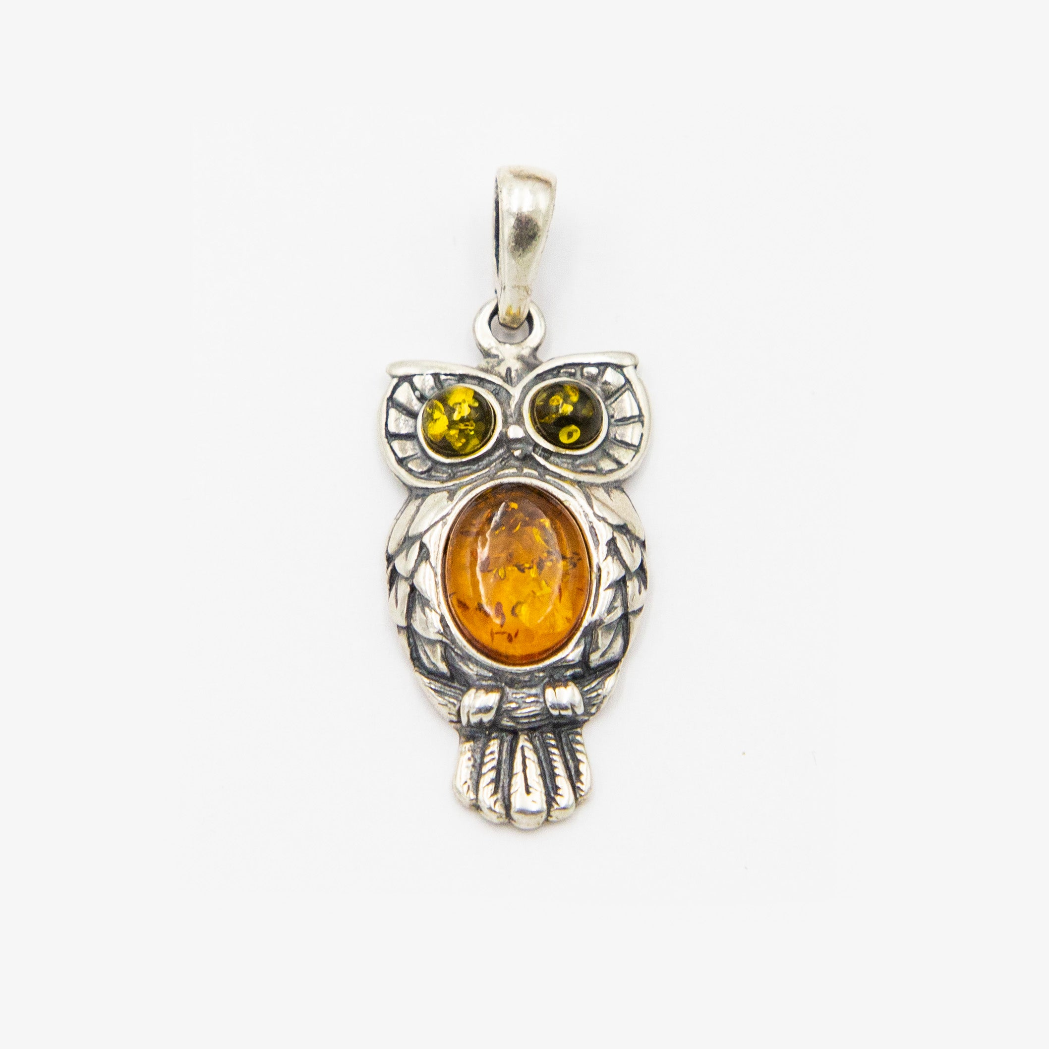 Sterling Silver Baltic Amber Wise Owl Pendant