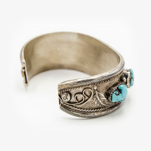 Vintage Sterling Silver Turquoise Nugget Cuff Bracelet