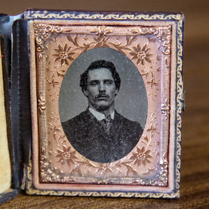 Antique Framed Tin Type of Mustached Man