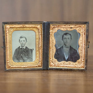 Antique Framed Tin Type Brothers