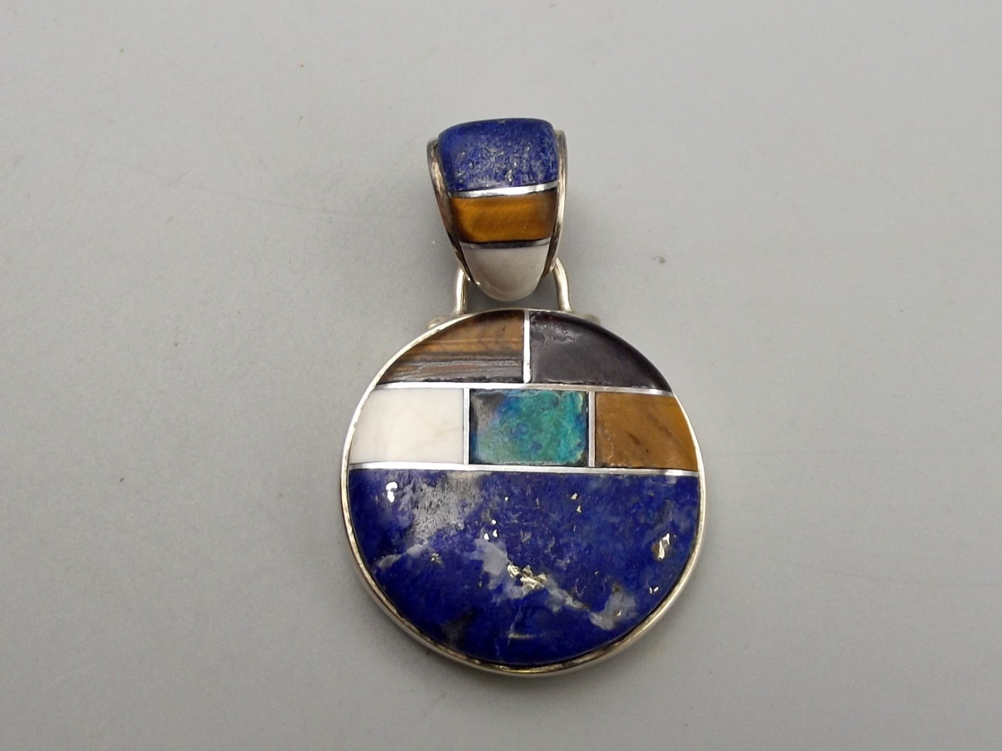 Sterling Silver Multi-Stone Inlay Pendant