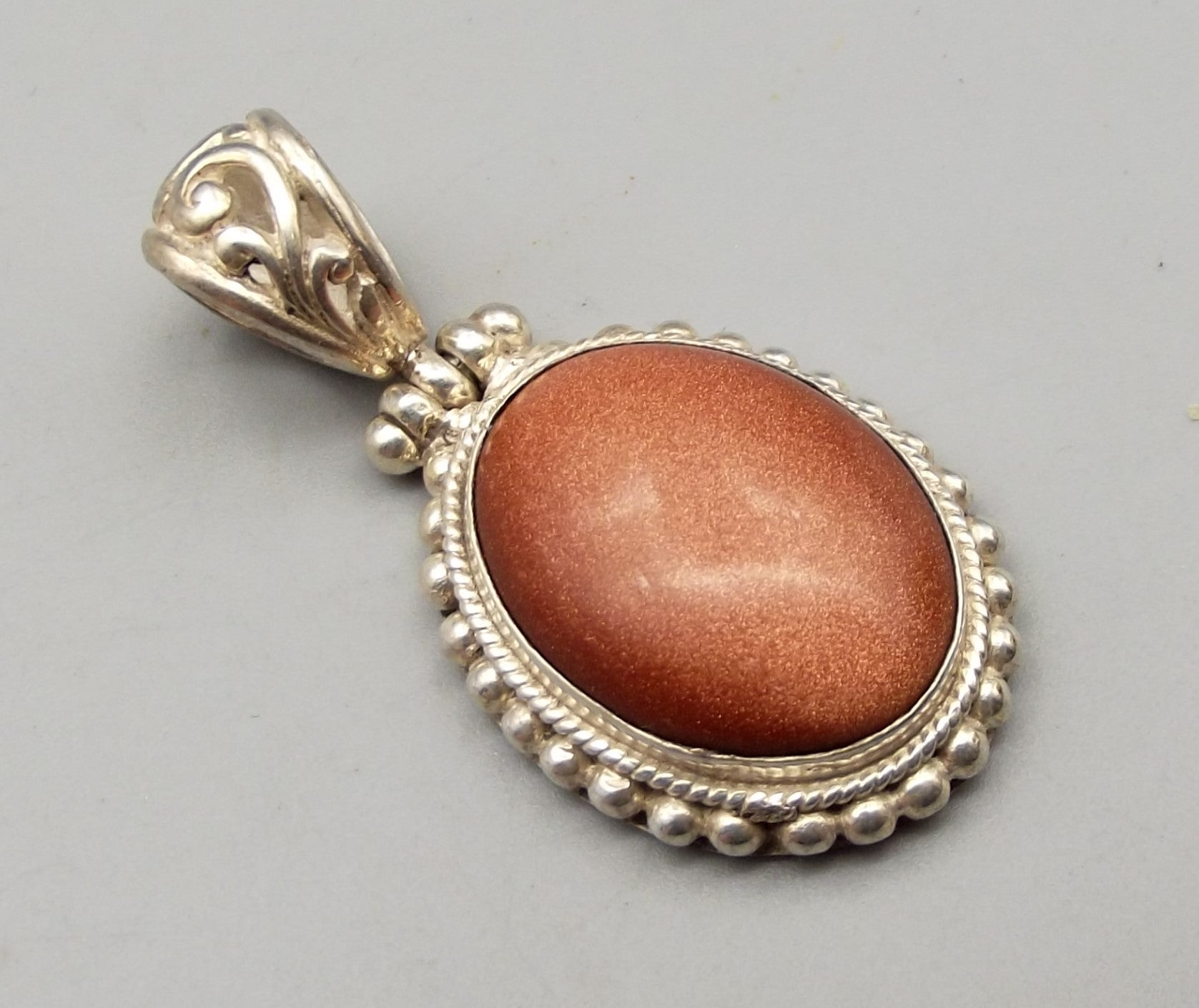 Sterling Silver Goldstone Cabochon Pendant