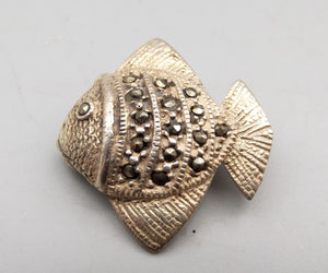 Sterling Silver Marcasite Angel Fish Brooch