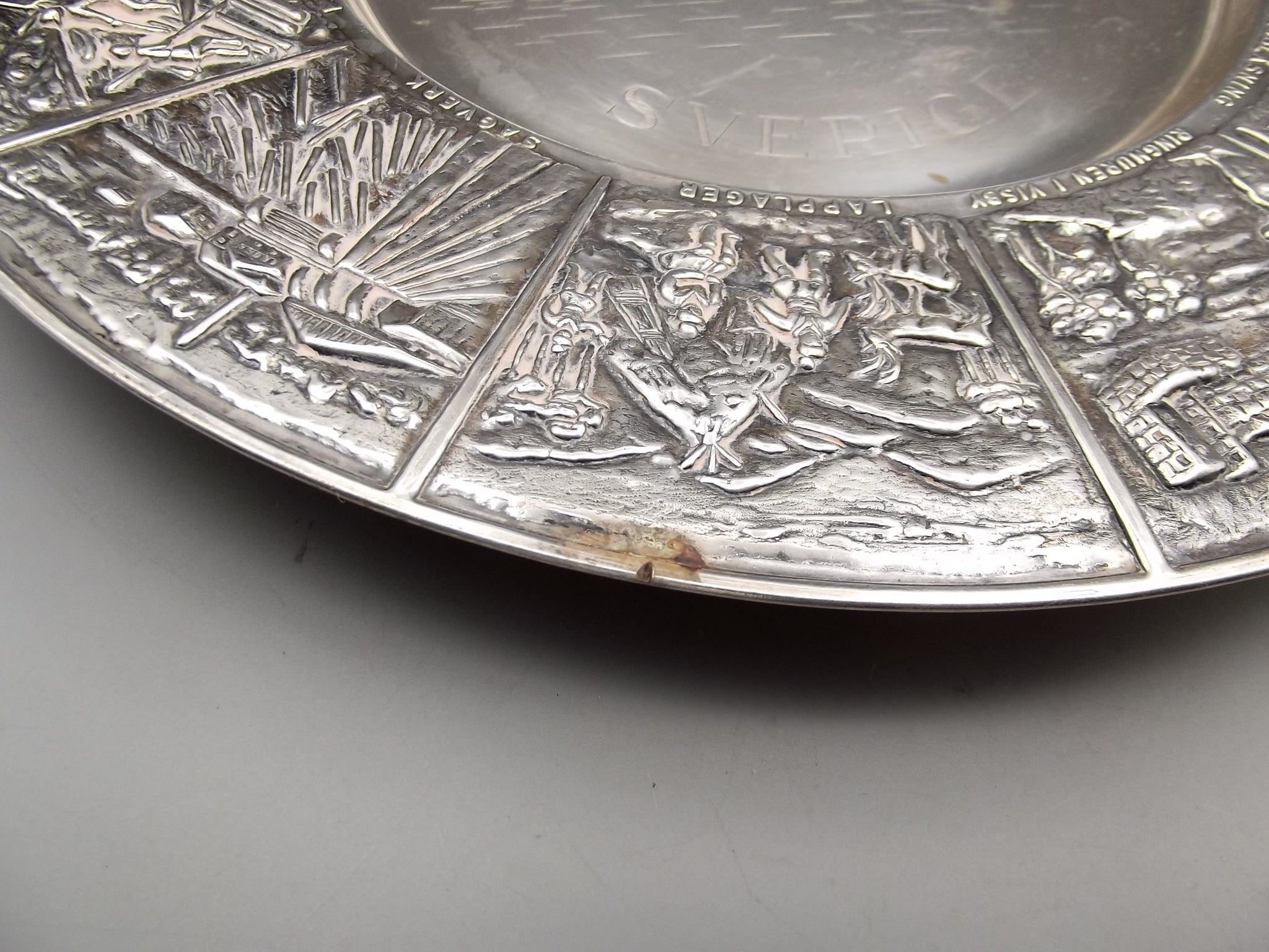 Vintage Swedish Silverplated Decorative Wall Plate