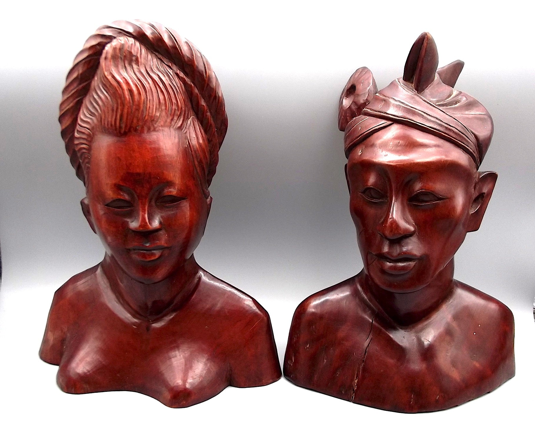 Vintage Indonesian Hand Carved Bust Pair Man & Woman