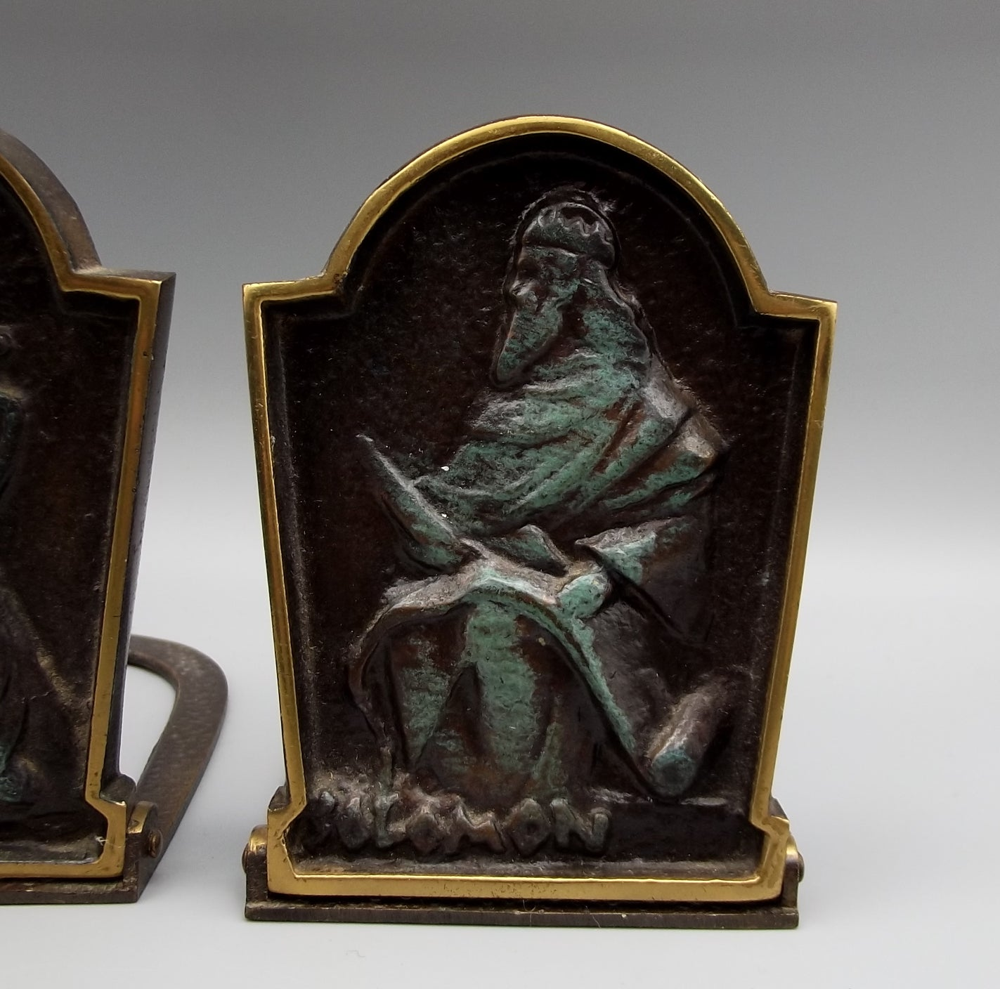 Vtg Dayagi Bronze King David & Solomon Bookend Set