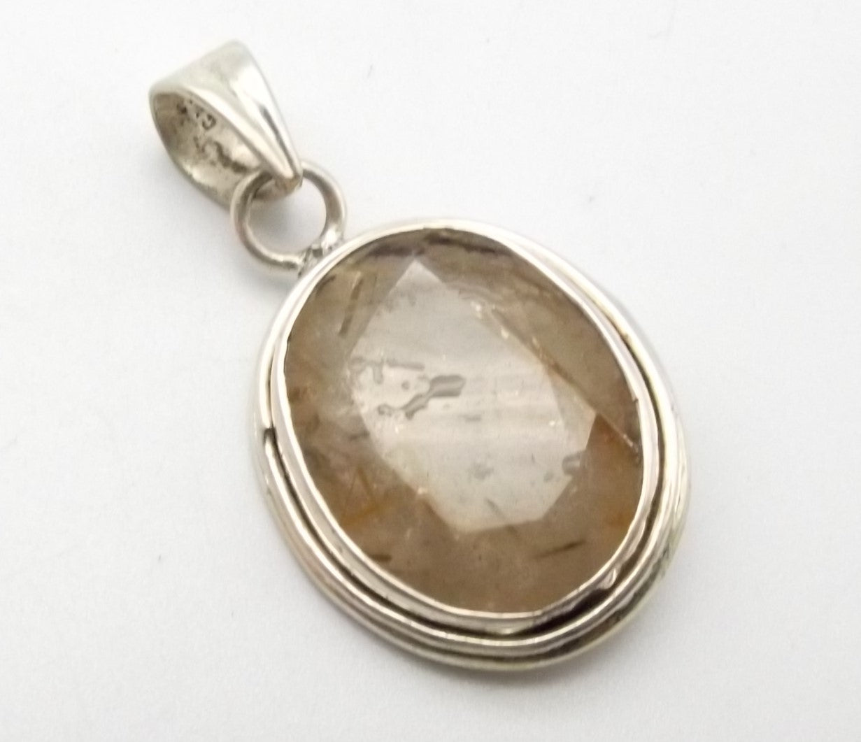 Sterling Silver Faceted Rutilated Quartz Pendant