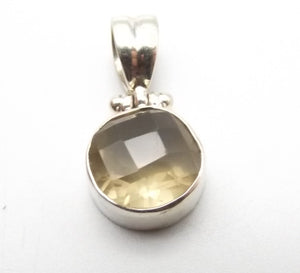 Sterling Silver Cushion Cut Citrine Pendant