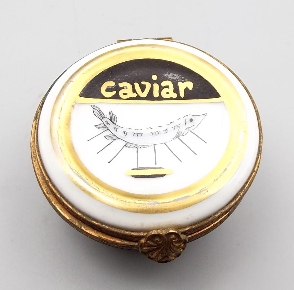 Rare Limoges Vintage Caviar Pillbox Hand Painted in France