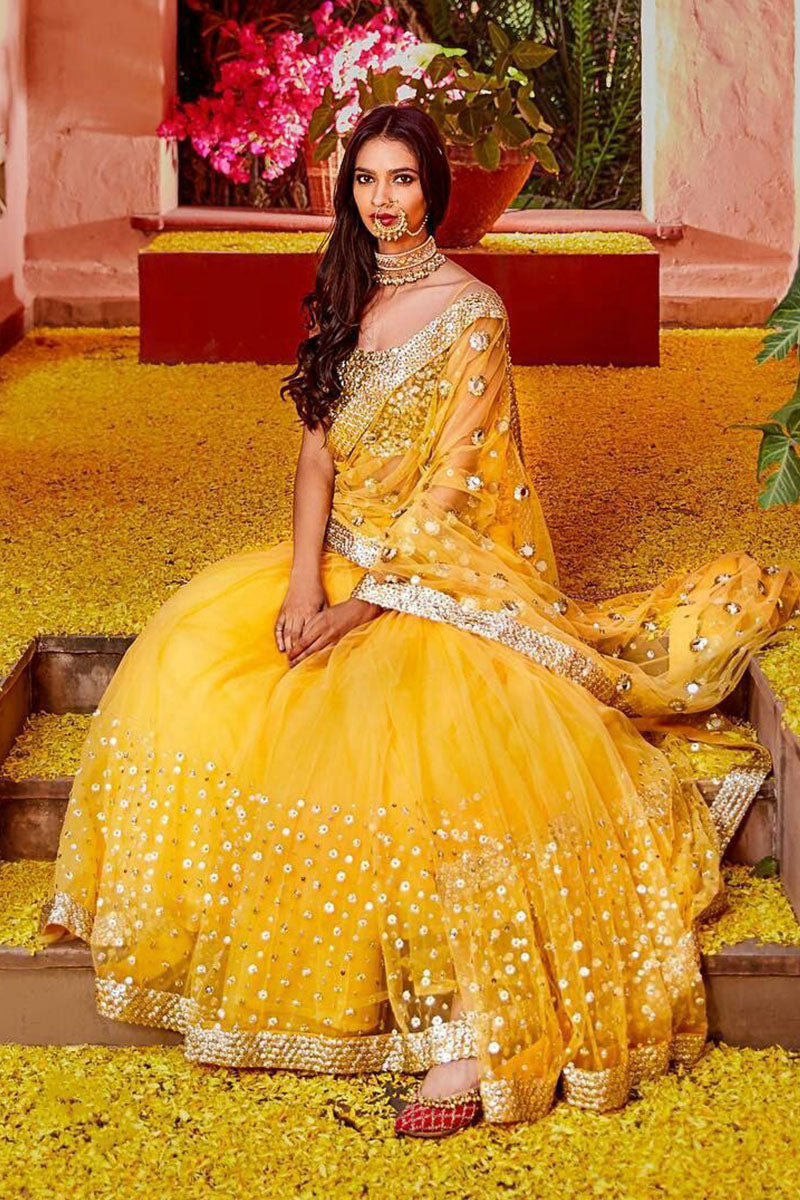 Dark Yellow Color Attractive Designer Lehenga Choli