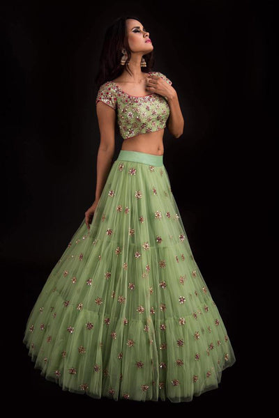 A Light Green Color Embroidered Fully Designer Lehenga Choli