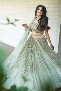 Sky Blue Color Attractive Designer Embroidered Lehenga Choli