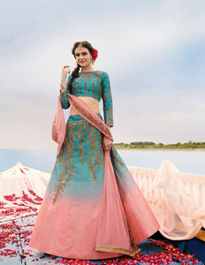Rama & Light Pink Color Heavy Exclusive Wear Designer Lehenga Choli