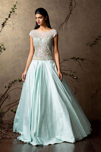 Embroidered Pastel Green Color Beautiful Gown