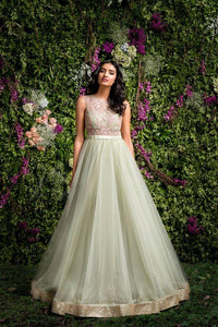 Light Olive Green Embroidered Gown For Party FF10016