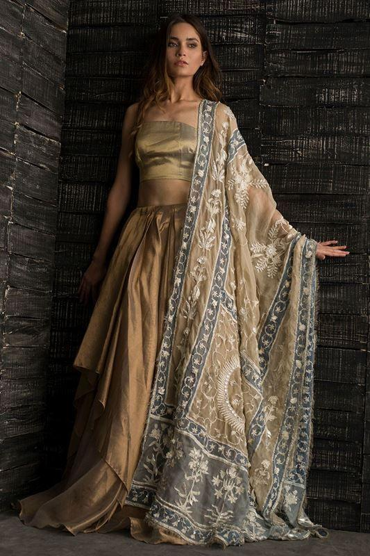 A Golden Designer Fully Hand Work And Embroidered Lehenga FF1501