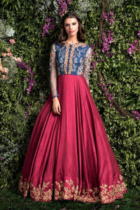 Blue & Maroon Color Embroidered Party Wear Gown FF10004