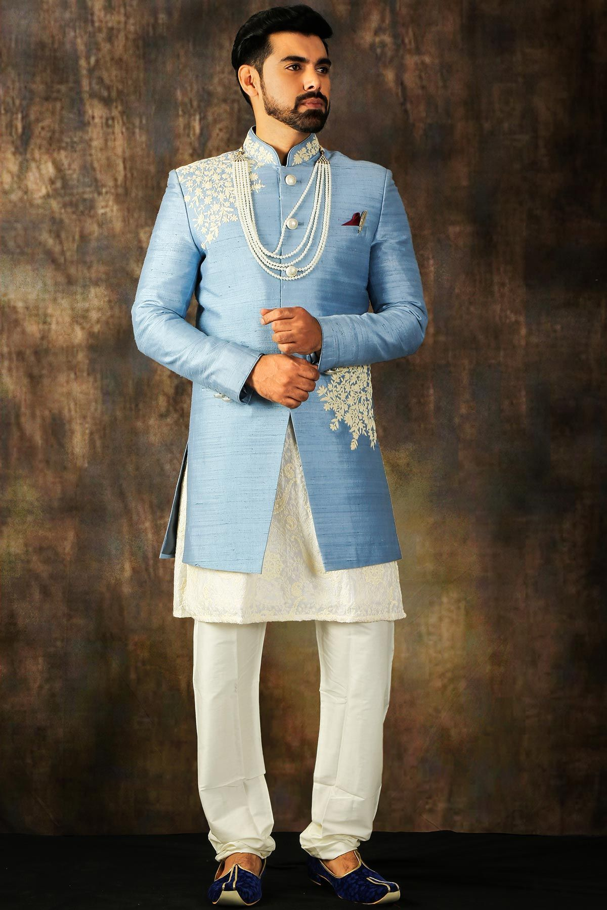 Columbia Blue Dori Embroidered Raw Silk Wedding Sherwani