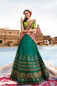 Lemon Green Color Heavy Exclusive Wear Designer Lehenga Choli