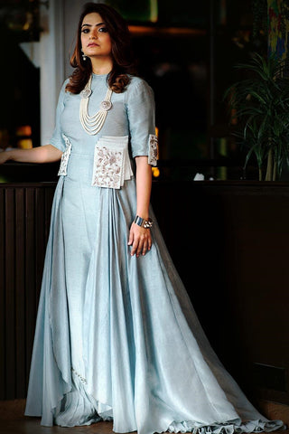Sky Blue Color Party Wear Designer Gown For Coming Season FF11022