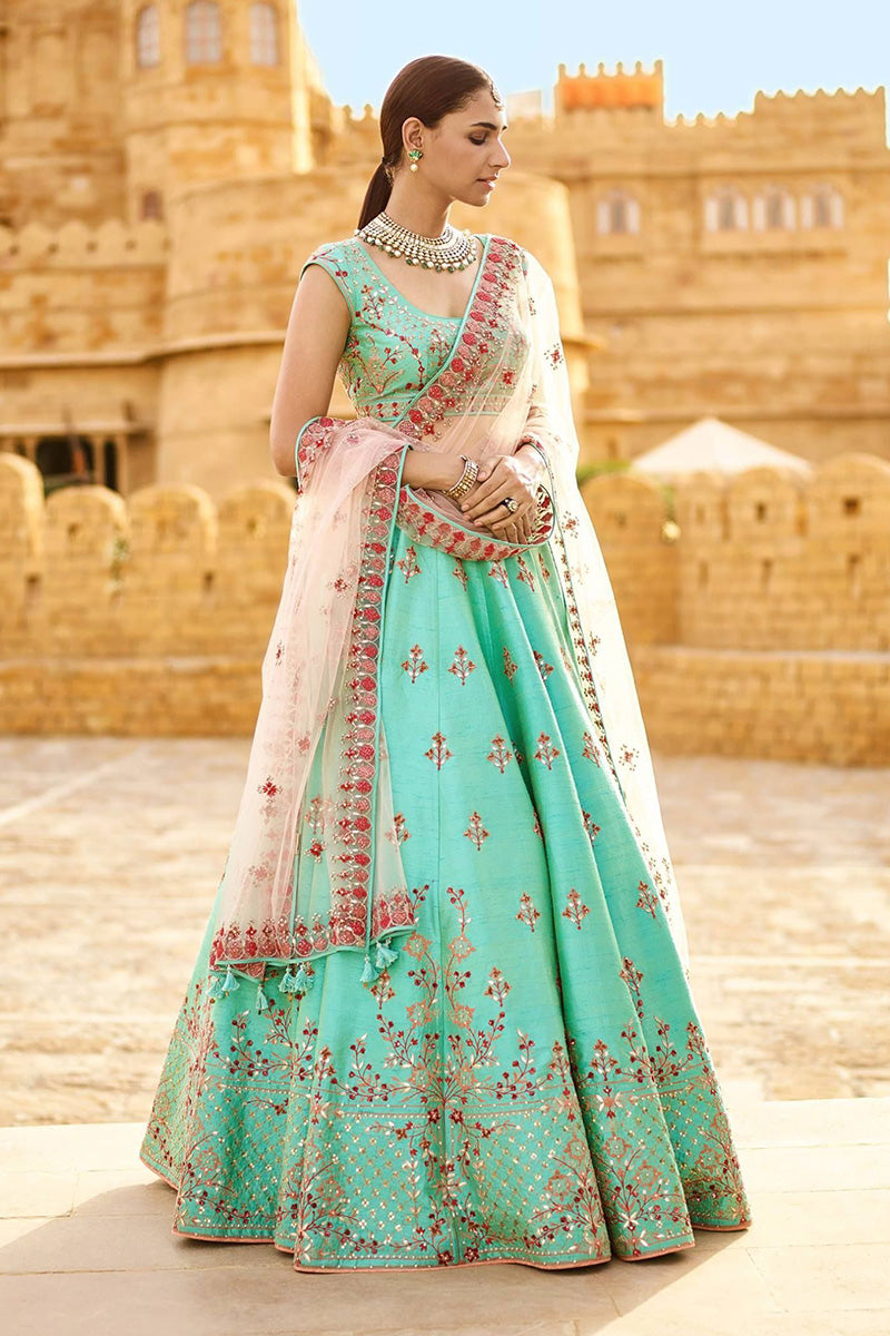 A Light Sky Blue Color Designer Embroidered Lehenga Choli