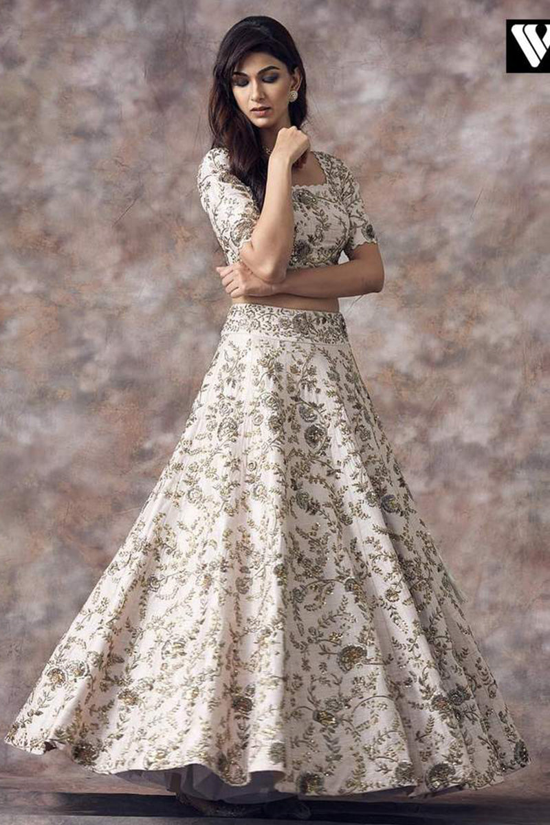 Off-White Color Embroidered Lehenga For Bride FF1027