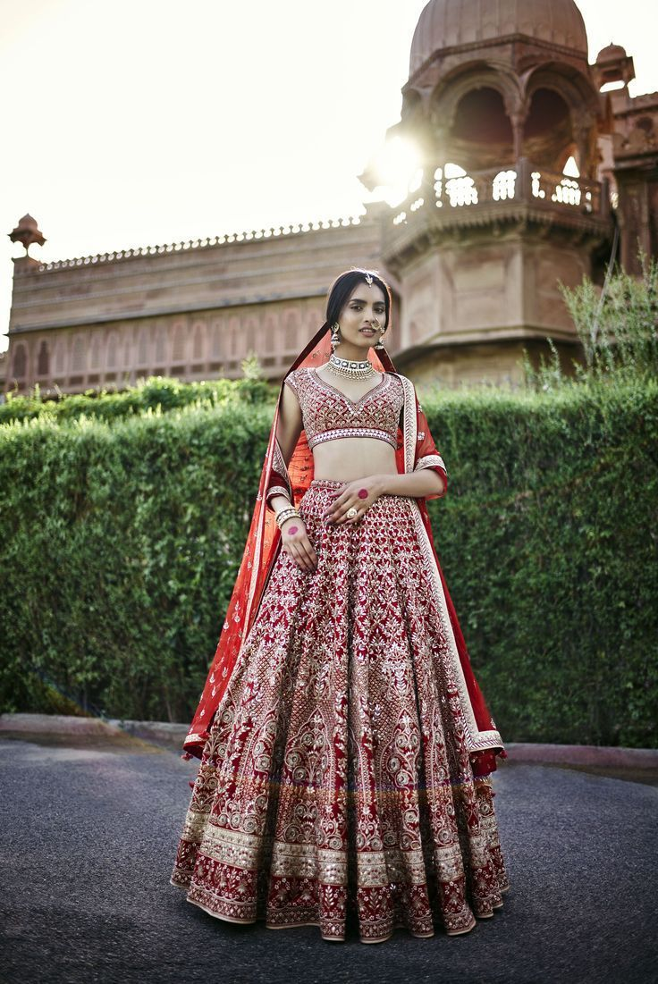 Exclusive Heavy Designer Beautiful Bridal Red Color Bridal Lehenga Choli - Stylizone