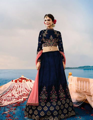 Navy Blue Color Heavy Exclusive Wear Designer Lehenga Choli