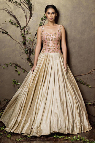 Light Pink & Cream Color Designer Gown For Wedding