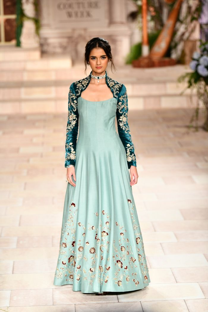 Peacock Green & Pastel Blue Designer Embroidered Gown