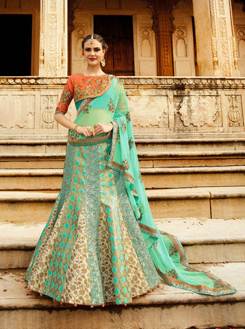 Firoji & Cream Color Heavy Exclusive Wear Designer Lehenga Choli