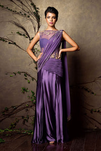 Purpal Color Designer Gown For Wedding