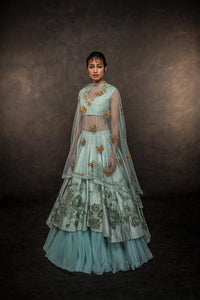 A Sky Blue Color Embroidered Lehenga Attractive Designer Lehenga FF1528