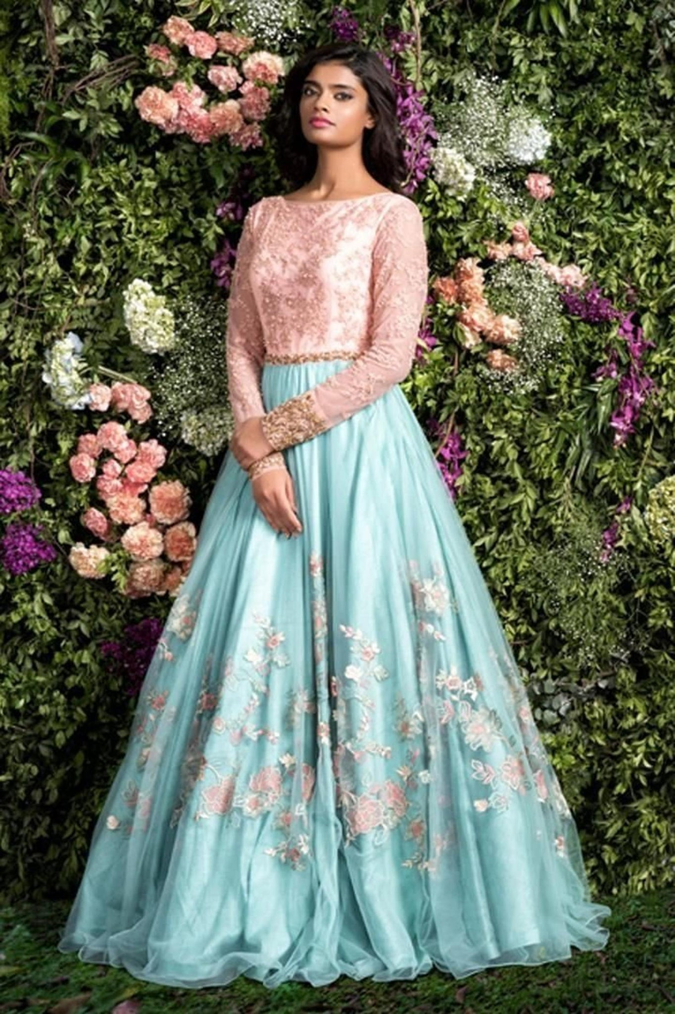 Sky Blue With Baby Pink Color Combination Embroidered Lehenga FF10006