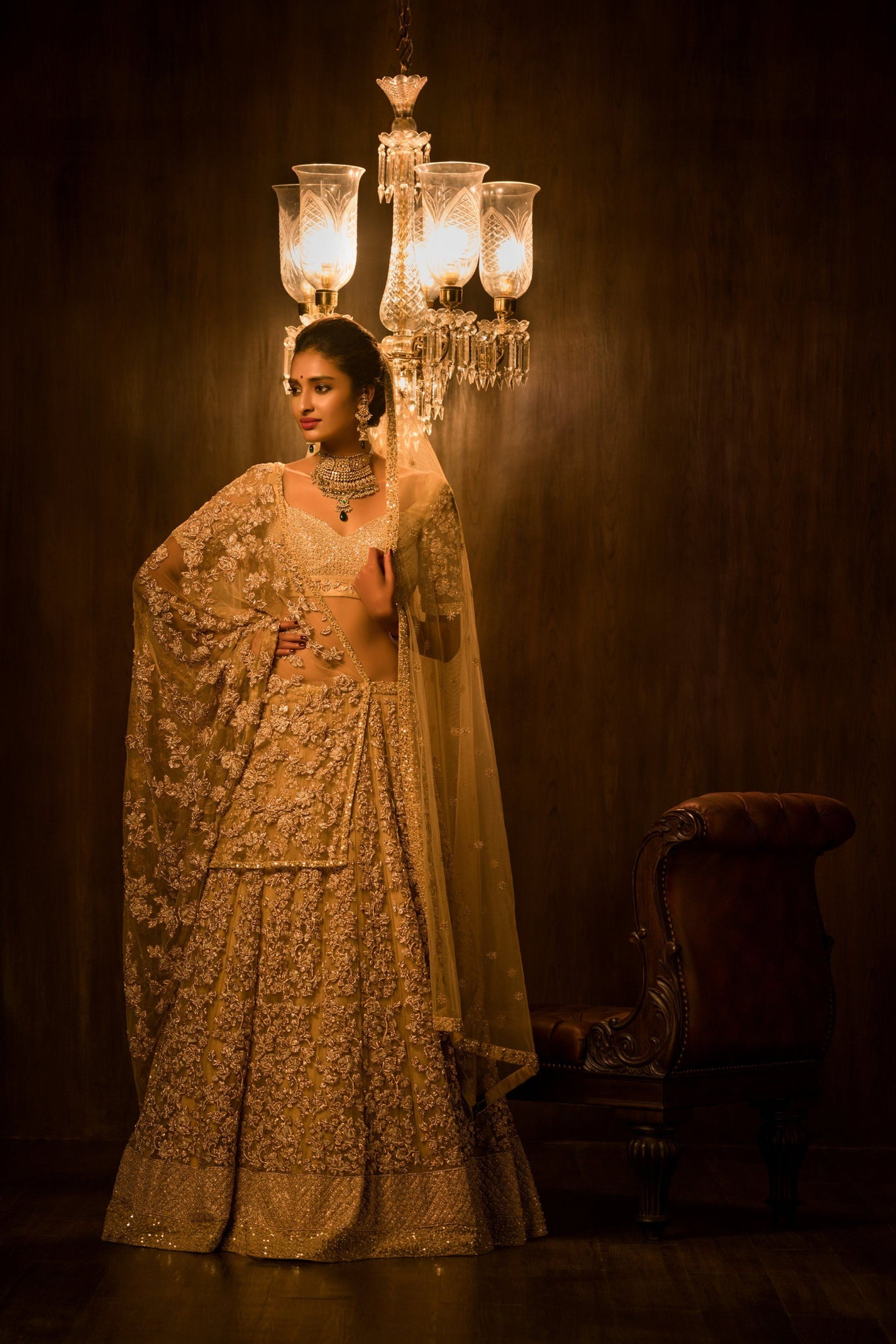 A Golden Embroidered & Hand Work Lehenga For Brides FF1543