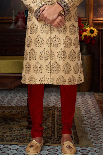 Light Gold Bead Embroidered Silk Wedding Sherwani