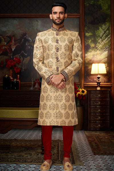 Light Gold Bead Embroidered Silk Wedding Sherwani FS126