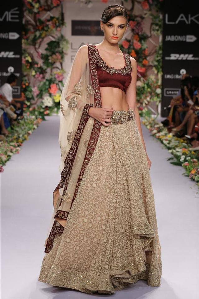 A Bone Cream Embroidered Attractive Designer Lehenga Choli FF1549