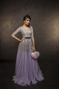 Purple Color Fully Embroidered Gown For Wedding FF1014