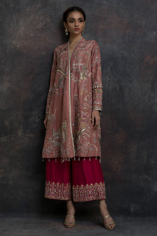 Peach & Pink Color Embroidered Salwar Kameez FF1016