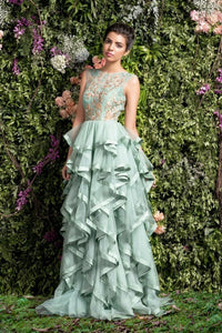 Pastel Green Color Designer Gown For Wedding FF1017