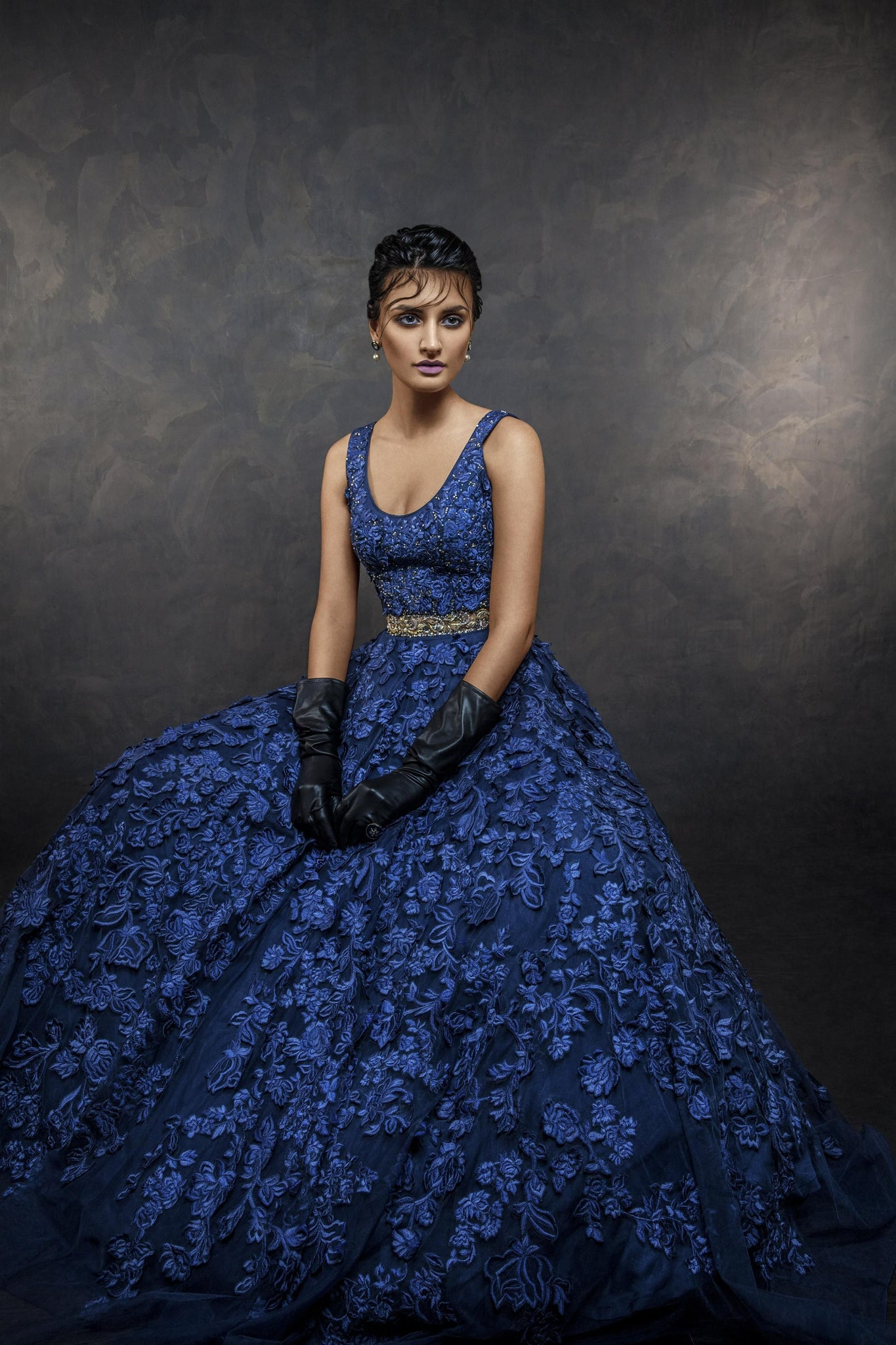 Navy Blue Color Designer Embroidered Gown For Party FF1023