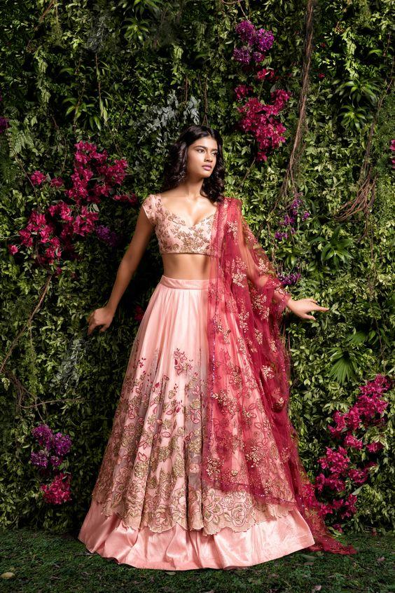 A Pastel Pink Embroidered With Hand Work Lehenga Choli