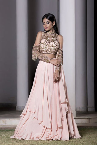 A Light Pastel Pink Embroidered Lehenga Choli FBL-1022